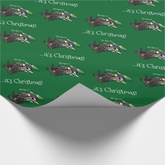 Skunk On A Sled It's Christmas! Sledging Cartoon Wrapping Paper