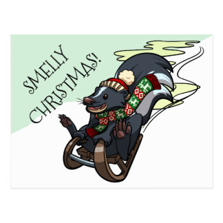 Skunk On A Sled Smelly Christmas Sledging Cartoon Postcard