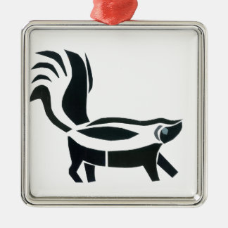 Skunked Silver-Colored Square Decoration