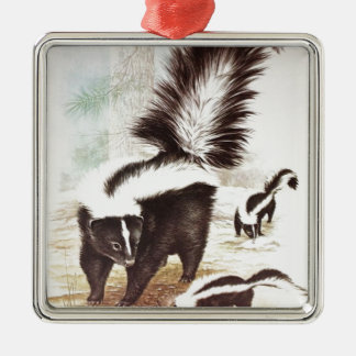 Skunks In The Snow Christmas Ornament
