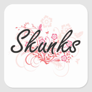 Skunks with flowers background square sticker