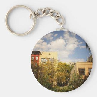 Sky Above a Garden in Alphabet City, East Village Basic Round Button Key Ring
