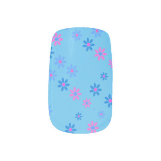 Sky and flowers minx nail art