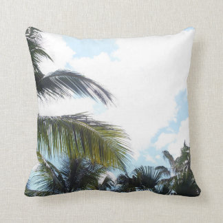 Sky and Palm Trees Throw Pillow