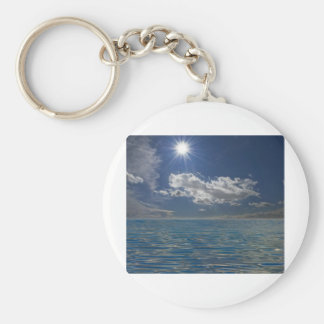sky and waves basic round button key ring