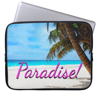 Sky, beach, palm trees - Paradise! Laptop Sleeve