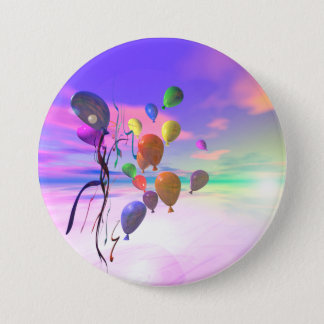 Sky Birthday Balloons 7.5 Cm Round Badge