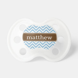 Sky Blue and Chocolate Brown Chevron Monogram Dummy