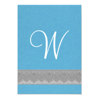 Sky Blue and Damask Ribbon Monogram Wedding A01 13 Cm X 18 Cm Invitation Card