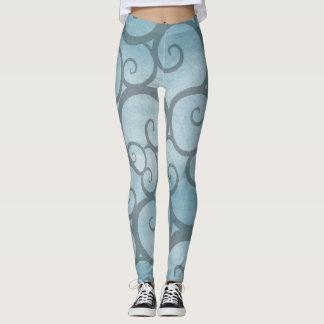 Sky Blue and Grey Swirl Legging