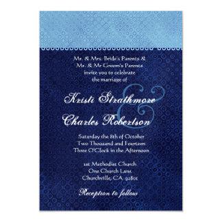 "Sky Blue and Midnight Damask Wedding Invitation 5"" X 7"" Invitation Card"
