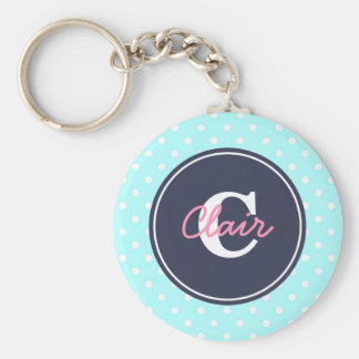 Sky Blue and Navy, Initial, and Name Key Ring