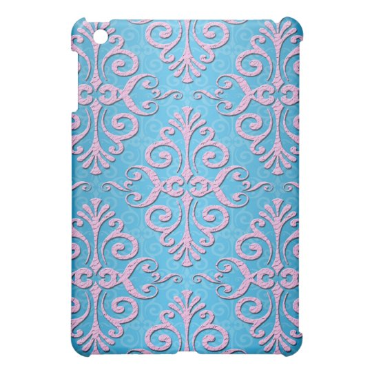 Sky Blue and Pink Girly Damask Cover For The iPad Mini