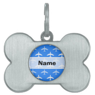 Sky Blue and White Airplane; Plane Pet Name Tag