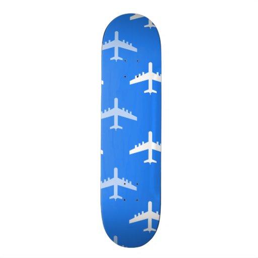 Sky Blue and White Airplane; Plane Skateboard Deck