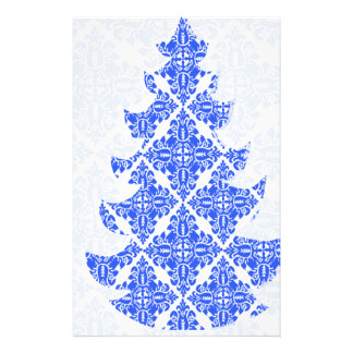 Sky Blue AND White Damask Pattern Christmas Tree Full Color Flyer