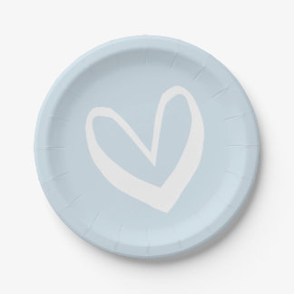 Sky Blue And White Hearts Love - Wedding / Party Paper Plate