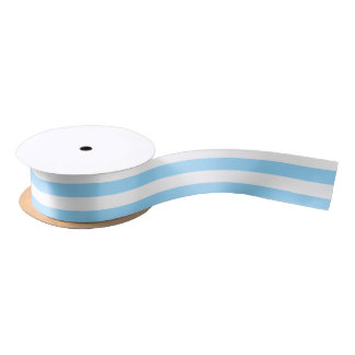 Sky-blue and White Horizontal Stripes Satin Ribbon