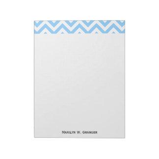 Sky Blue and White Large Chevron ZigZag Pattern Notepad