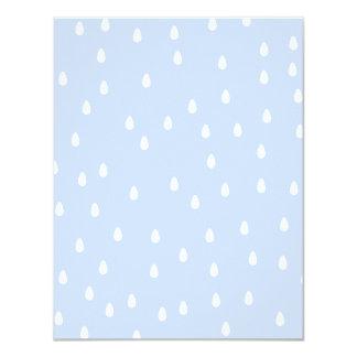 Sky blue and white rain drop pattern. 11 cm x 14 cm invitation card
