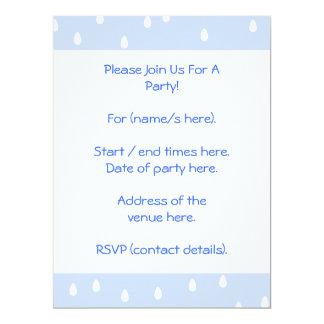 Sky blue and white rain drop pattern. 17 cm x 22 cm invitation card