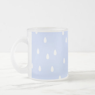 Sky blue and white rain drop pattern. frosted glass mug