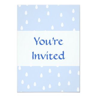 "Sky blue and white rain drop pattern. 5"" x 7"" invitation card"