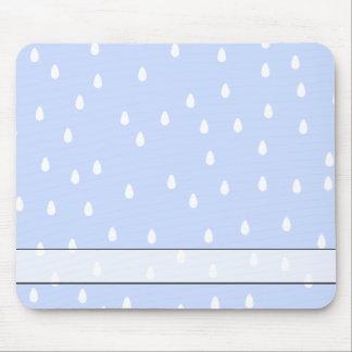 Sky blue and white rain drop pattern. mousepad