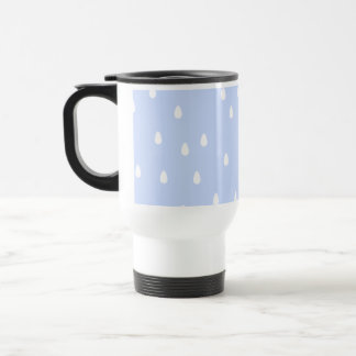 Sky blue and white rain drop pattern. stainless steel travel mug