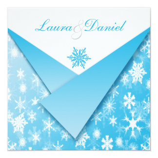 Sky Blue and White Snowflakes Wedding Invitation