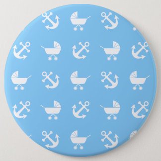 Sky blue baby boy nautical pattern 6 cm round badge