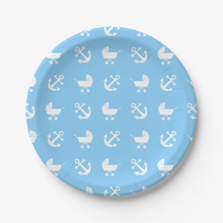 Sky blue baby boy nautical pattern 7 inch paper plate
