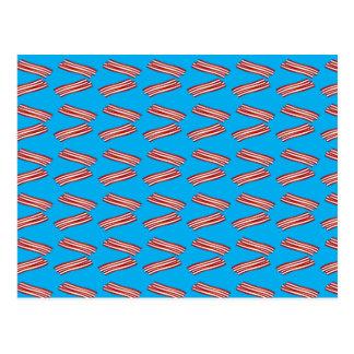 Sky blue bacon pattern postcard