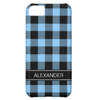 Sky Blue Black Buffalo Check Plaid Name Monogram iPhone 5C Case