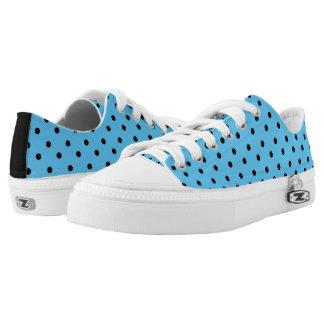 Sky Blue & Black Polkadot Low Tops Printed Shoes