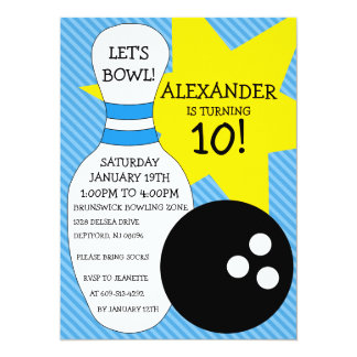 Sky Blue Bowling Bash Bowling Birthday Party Card