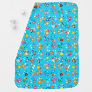 Sky Blue Boy Pastel Cat Paw Print Baby Blanket
