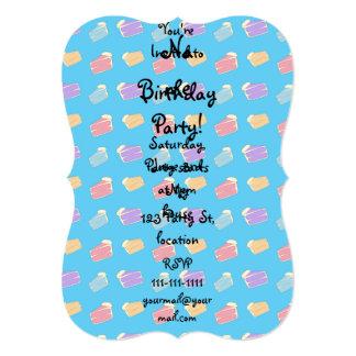 Sky blue cake pattern 13 cm x 18 cm invitation card