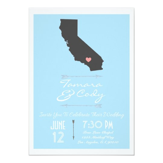 Sky Blue California Wedding Invitation