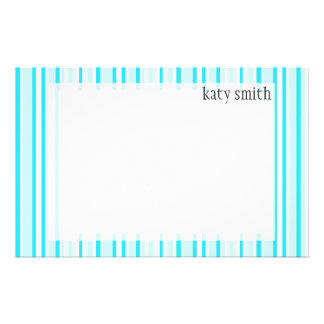 Sky Blue Candy Stripes & Dots Personalized Personalized Stationery