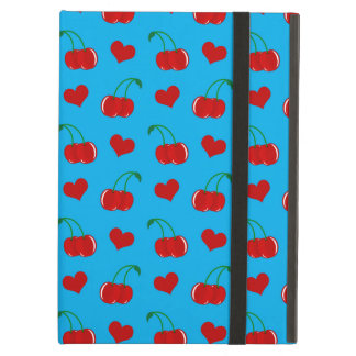 sky blue cherry hearts pattern iPad air cover