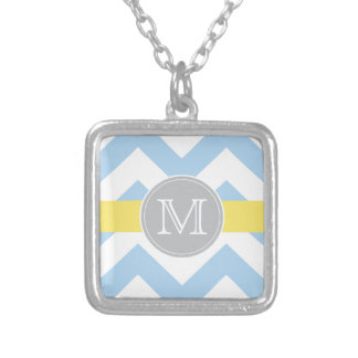 Sky Blue Chevron Lemon Stripe Monogram Necklace