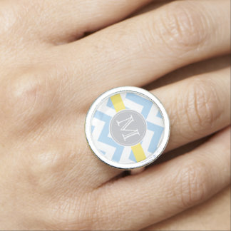 Sky Blue Chevron with Lemon Stripe and Monogram