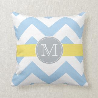 Sky Blue Chevron with Lemon Stripe Initial Pillow