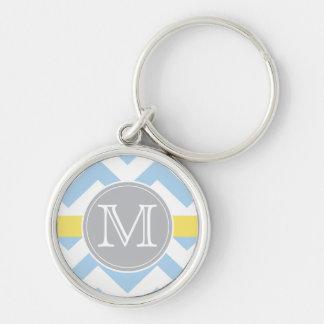 Sky Blue Chevron with Lemon Stripe Monogram Gift