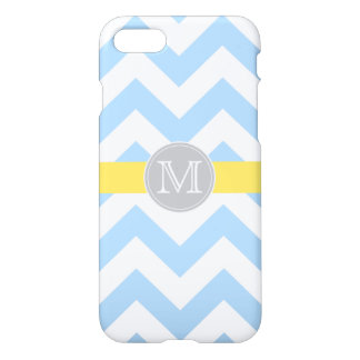 Sky Blue Chevron with Lemon Stripe & Monogram iPhone 8/7 Case