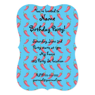 """Sky blue chili peppers pattern 5"""" x 7"""" invitation card"""