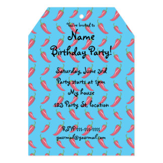Sky blue chili peppers pattern 13 cm x 18 cm invitation card