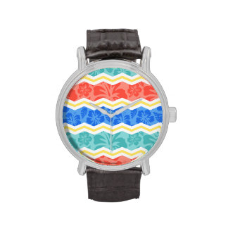 Sky Blue, Coral Pink, and Yellow Tropical Pattern Wristwatches