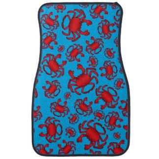 Sky blue crab pattern car mat